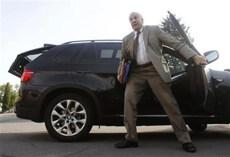 Former Penn State University assistant football coach Jerry Sandusky arrives at Centre County Court in Bellefonte, Pennsylvania, June 11, 2012. REUTERS/Gary Cameron