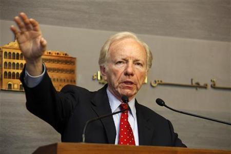 U.S. Senator Joseph Lieberman speaks during a news conference at the government palace in Beirut May 2, 2012. REUTERS/Mohamad Azakir