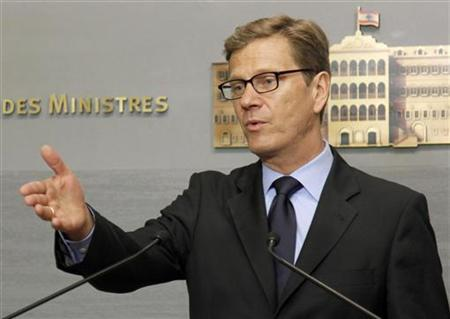 German Foreign Minister Guido Westerwelle speaks during a news conference, after meeting with Lebanon's Prime Minister Najib Mikati, at the government palace in Beirut June 8, 2012. REUTERS/Mohamed Azakir
