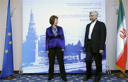 European Union Foreign Policy Chief Catherine Ashton (L) meets with Iran's Chief Negotiator Saeed Jalili in Moscow, June 18, 2012. REUTERS/Kirill Kudryavtsev/Pool