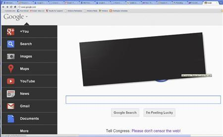 The blacked-out homepage of Google is pictured in this January 18, 2012 handout photograph. REUTERS/Staff