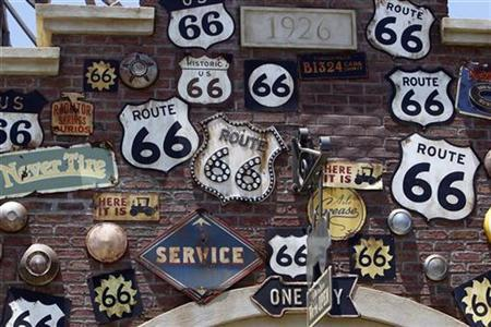 Expanded Disneyland California Adventure Park features signs from Route 66 as a theme in Cars Land at the park in Anaheim, California June 5, 2012. REUTERS/Alex Gallardo