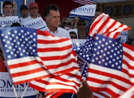 U.S. Republican Presidential candidate Mitt Romney is seen at a campaign rally in Le Claire Park & Bandshell in Davenport, Iowa, June 18, 2012. REUTERS/Larry Downing