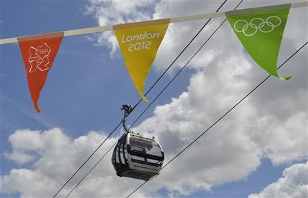 A gondola passes above London 2012 Olympic Games bunting as it departs from at a station in Royal Docks in east London June 17, 2012. REUTERS/Toby Melville
