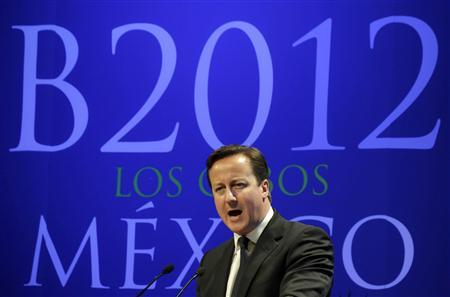 Britain's Prime Minister David Cameron addresses the audience in Los Cabos June 18, 2012. Cameron is in Los Cabos, Mexico for the G20 Summit. REUTERS/Oswaldo Rivas