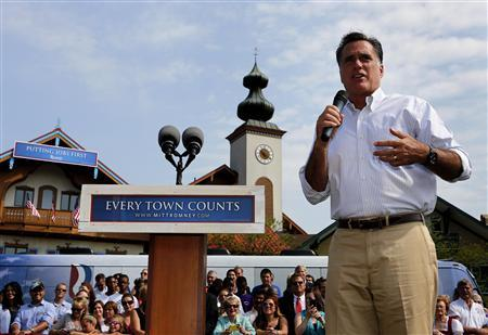 U.S. Republican Presidential candidate Mitt Romney speaks at a campaign event at the Bavarian Inn Lodge in Frankenmuth, Michigan, June 19, 2012. REUTERS/Larry Downing