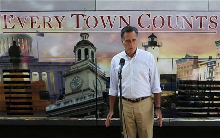 U.S. Republican Presidential candidate Mitt Romney talks about false reports in the press about his Vice Presidential pick while in Holland, Michigan, June 19, 2012. REUTERS/Larry Downing