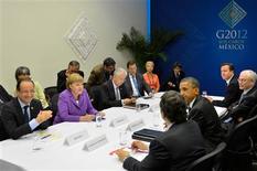<p>L'Europe a reçu mardi le soutien des dirigeants du G20 réunis au Mexique à son projet de jeter les bases d'une refonte de son système bancaire, dans l'optique de régler l'interminable crise de la dette souveraine. /Photo prise le 19 juin 2012/REUTERS/Présidence mexicaine</p>