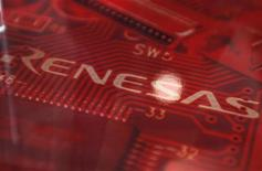 An image of Japanese chipmaker Renesas Electronics Corp's logo is pictured at the company headquarters in Tokyo May 28, 2012. REUTERS/Yuriko Nakao