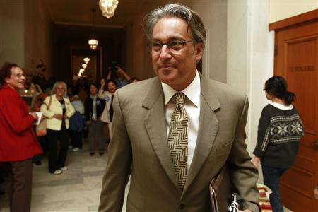 Suspended San Francisco Sheriff Ross Mirkarimi arrives before a hearing at the San Francisco Ethics Commission at City Hall in San Francisco, California June 19, 2012. A city ethics panel opened hearings on Tuesday into whether Mirkarimi, suspended after his conviction in a spousal-abuse case, should permanently lose his job. REUTERS/Stephen Lam