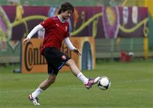 Czech Republic's Tomas Rosicky attends a training session for the Euro 2012 at Wroclaw's Oporowska Municipal stadium, June 20, 2012. REUTERS/Petr Josek