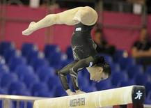 Catalina Ponor of Romania competes on the beam during the Seniors Apparatus Finals event at the Women's Artistic Gymnastics European Championship in Brussels May 13, 2012. REUTERS/Laurent Dubrule