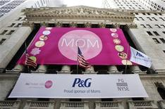The Procter and Gamble trademark is seen hanging outside the New York Stock Exchange in New York May 7, 2010. REUTERS/Shannon Stapleton