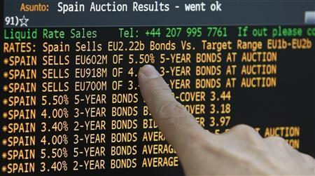 A trader points out a screen showing the results of Spain's bonds auction in a broker's office in Madrid June 21, 2012. REUTERS/Sergio Perez
