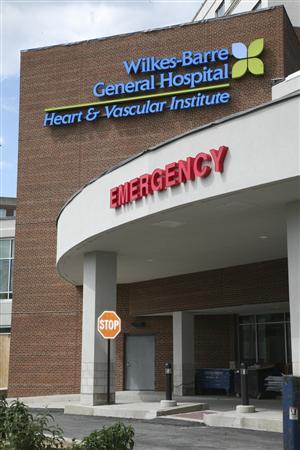 Wilkes-Barre General Hospital is pictured in this handout photo in Wilkes-Barre, Pennsylvania, received by Reuters June 20, 2012. REUTERS/Wilkes-Barre General Hospital/Handout