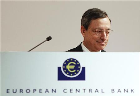 Mario Draghi, President of the European Central Bank (ECB) attends the Generation Euro Students' Award ceremony at the ECB headquarters in Frankfurt June 20, 2012. REUTERS/Alex Domanski