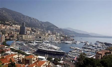 A general view of Monaco port shows a part of the Monaco Formula One Grand Prix track with pit lane and grandstands May 10, 2012. REUTERS/Eric Gaillard