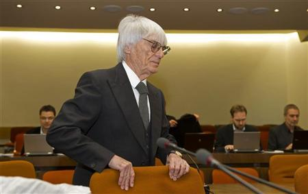F1 supremo Bernie Ecclestone arrives to testify in the trial against banker Gerhard Gribkowsky at a district court in Munich November 10, 2011. REUTERS/Joerg Koch/Pool