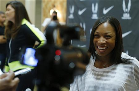 Sprinter Allyson Felix answers a reporter's question following a news conference at the U.S. Olympic athletics trials in Eugene, Oregon June 21, 2012. REUTERS/Mike Blake