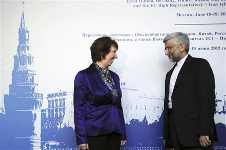 European Union Foreign Policy Chief Catherine Ashton (L) meets with Iran's chief negotiator Saeed Jalili in Moscow in this June 18, 2012 file photo. REUTERS/Kirill Kudryavtsev/Pool/Files