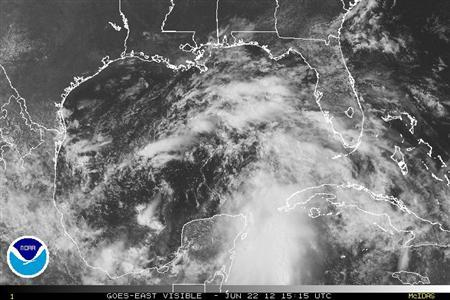 Storm systems are seen in the Gulf of Mexico in an NOAA satellite image taken Jun 22, 2012. REUTERS/NOAA/Handout