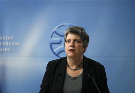 U.S. Homeland Security Secretary Janet Napolitano attends a joint news conference with Israel's Foreign Minister Avigdor Lieberman (not seen) after their meeting in Jerusalem May 20, 2012. REUTERS/Baz Ratner