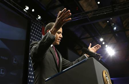 U.S. President Barack Obama speaks at the National Association of Latino Elected and Appointed Officials (NALEO) annual conference in Lake Buena Vista, Florida June 22, 2012. REUTERS/Kevin Lamarque