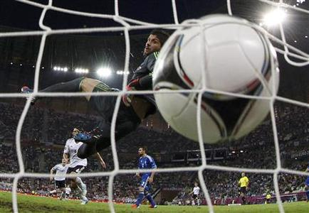 Greece's goalkeeper Michalis Sifakis (top) fails to save a goal by Germany's Sami Khedira during their Euro 2012 quarter-final soccer match at the PGE Arena in Gdansk June 22, 2012. REUTERS/Pascal Lauener