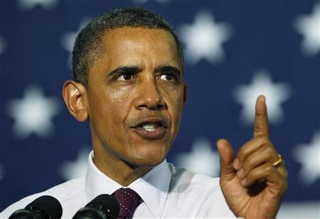 U.S. President Barack Obama speaks at a campaign event at Hillsborough Community College in Tampa, Florida June 22, 2012. REUTERS/Kevin Lamarque