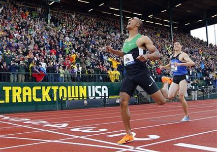 U.S. decathlete Ashton Eaton sets a new world record as he crosses the finish line in the men's decathlon 1500m at the U.S. Olympic athletics trials in Eugene, Oregon June 23, 2012. REUTERS/Mike Blake