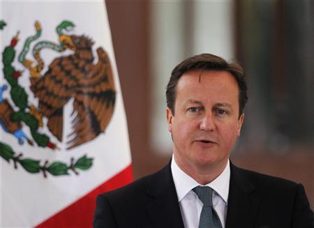 Britain's Prime Minister David Cameron addresses the media at Los Pinos presidential residence in Mexico City June 20, 2012. REUTERS/Tomas Bravo