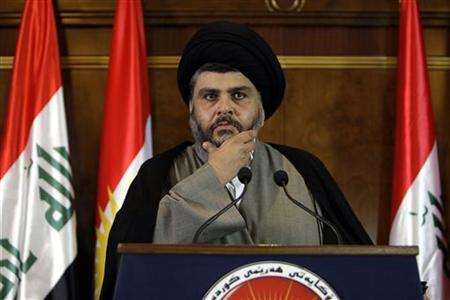 Iraqi Shiite cleric Moqtada al-Sadr listen to questions during a news conference in Arbil, about 350 km (220 miles) north of Baghdad April 26, 2012. REUTERS/Azad Lashkari