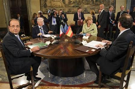 (From L) French President Francois Hollande, Italian Prime Minister Mario Monti, German Chancellor Angela Merkel and Spanish Prime Minister Mariano Rajoy take their seats for a meeting June 22, 2012 at Villa Madama in Rome. REUTERS/Lionel Bonaventure/Pool