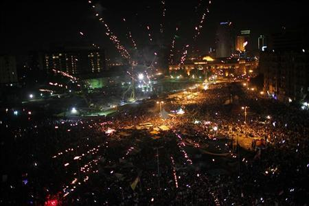 Supporters of Muslim Brotherhood's president-elect Mohamed Morsy celebrate his victory at the election at Tahrir Square in Cairo June 24, 2012. REUTERS/Ahmed Jadallah