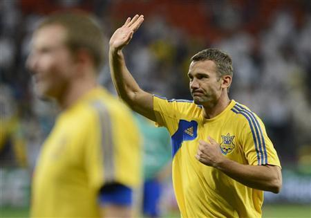 Ukraine's Andriy Shevchenko waves before the start of his team's Group D Euro 2012 soccer match against England at Donbass Arena in Donetsk June 19, 2012. REUTERS/Nigel Roddis