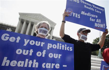 A group of doctors protest against individual mandate in President Obama's health care reform in front of U.S. Supreme Court in Washington June 25, 2012. REUTERS/Yuri Gripas