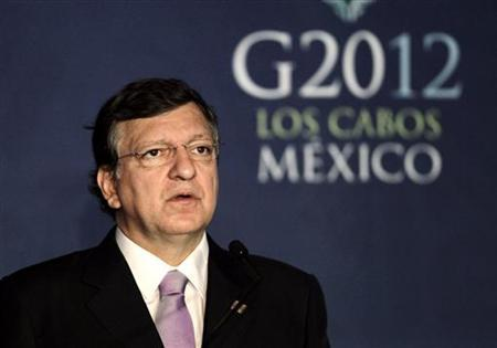 European Commission President Jose Manuel Barroso addresses the media before the G20 Summit in Los Cabos June 18, 2012. REUTERS/Henry Romero
