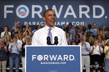 U.S. President Barack Obama speaks at a campaign event at Oyster River High School in Durham, New Hampshire, June 25, 2012. REUTERS/Larry Downing