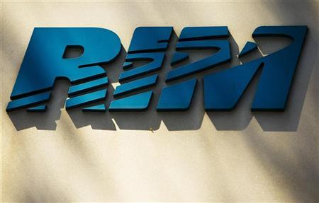 A logo of the Blackberry maker's Research in Motion is seen on a building at the RIM Technology Park in Waterloo in this April 18, 2012 file photograph. REUTERS/Mark Blinch