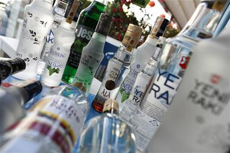Raki bottles are displayed at a restaurant in Ankara September 27, 2011. REUTERS/Umit Bektas