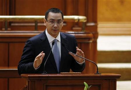 Romania's nominated Prime Minister Victor Ponta addresses the Parliament in Bucharest May 7, 2012. REUTERS/Bogdan Cristel