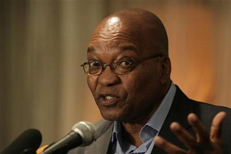 Jacob Zuma responds to questions during a media conference in Johannesburg, April 21, 2009. REUTERS/Siphiwe Sibeko