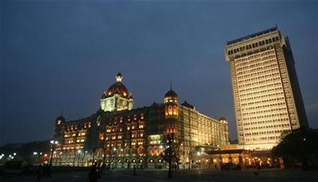 The Taj Mahal hotel is seen lit-up following the Mumbai attacks December 21, 2008. REUTERS/Punit Paranjpe/Files