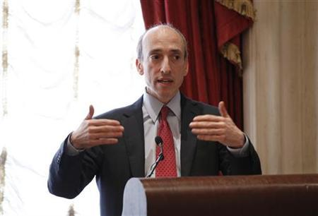 Gary Gensler, chairman of the U.S. Commodity Futures Trading Commission, speaks during the Sandler O'Neill + Partners global exchange and brokerage conference in New York June 9, 2011. REUTERS/Lucas Jackson