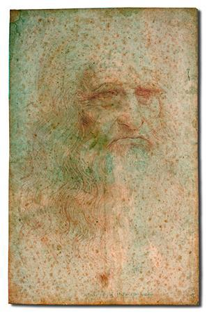 The famous self portrait of Renaissance master Leonardo da Vinci is seen in critical condition in this handout photo released to Reuters in Rome June 26, 2012. The portrait is suffering from blotches, stains and fungi, and art experts say because the small drawing is so delicate they will have to be prudent in deciding whether to attempt a restoration or cleaning. The small drawing was done in the early 1500s, when Leonardo was in his 60s. REUTERS/Handout