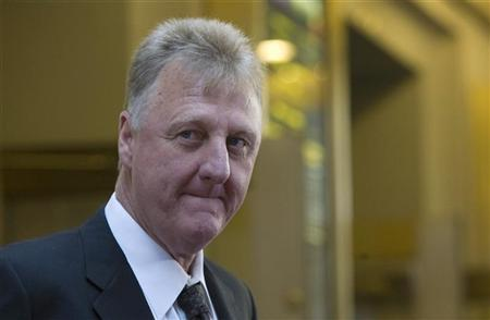 Former NBA player Larry Bird attends the premiere of the Broadway play Magic Bird in New York April 11, 2012. REUTERS/Allison Joyce
