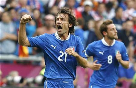 Italy's Andrea Pirlo celebrates his goal against Croatia during their Group C Euro 2012 soccer match at city stadium in Poznan, June 14, 2012. EUTERS/Tony Gentile