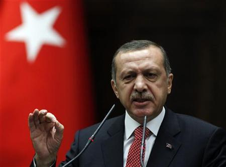 Turkey's Prime Minister Tayyip Erdogan addresses members of parliament from his ruling AK Party (AKP) during a meeting at the Turkish parliament in Ankara June 26, 2012. REUTERS/Umit Bektas