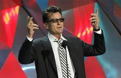 "Actor Charlie Sheen introduces the instant cult classic film ""Project X"" at the 2012 MTV Movie Awards in Los Angeles, June 3, 2012. REUTERS/Mario Anzuoni"