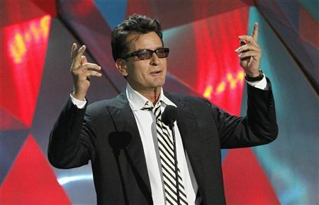Actor Charlie Sheen introduces the instant cult classic film ''Project X'' at the 2012 MTV Movie Awards in Los Angeles, June 3, 2012. REUTERS/Mario Anzuoni